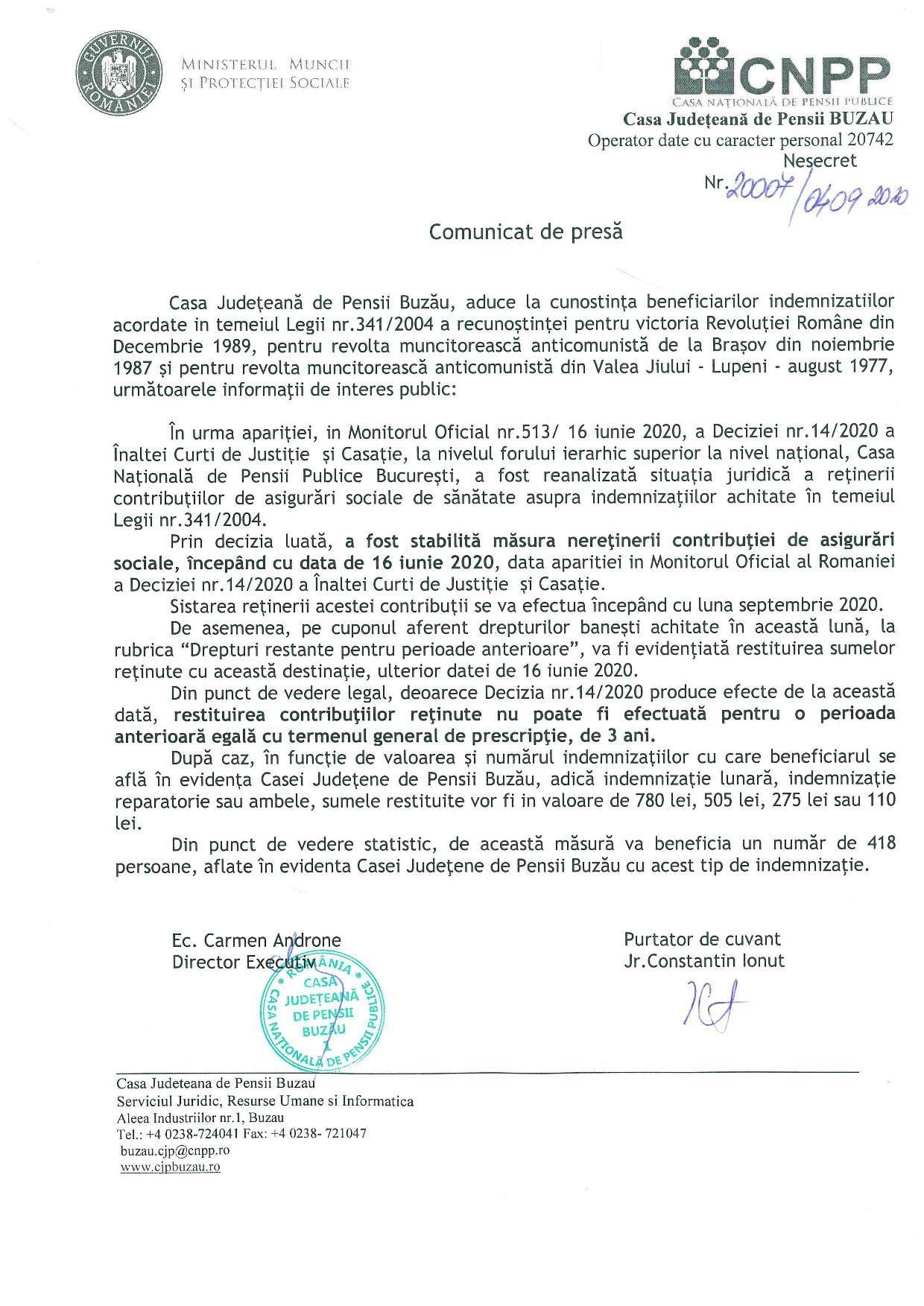Comunicat de presa Neretinere si restituire CASS asupra indemnizatiilor prevazute de Legea nr.3412004 page 001