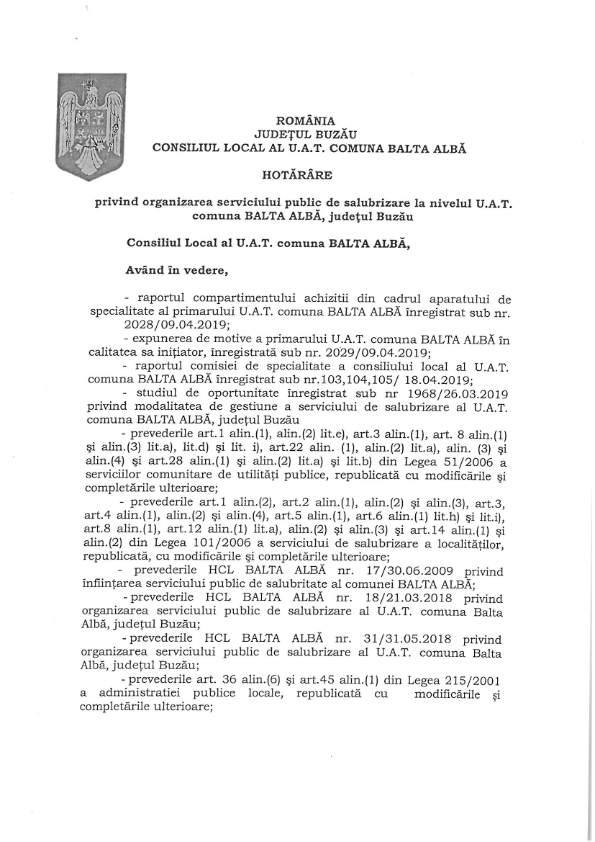 H C L nr 31 din 18 04 2019 privind organizarea serviciului public de salubrizare la nivelul UATcomuna Balta Alba jud Buzau 001