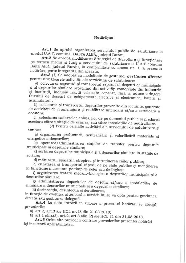 H C L nr 31 din 18 04 2019 privind organizarea serviciului public de salubrizare la nivelul UATcomuna Balta Alba jud Buzau 002