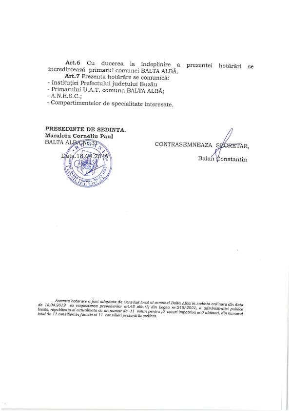 H C L nr 31 din 18 04 2019 privind organizarea serviciului public de salubrizare la nivelul UATcomuna Balta Alba jud Buzau 003