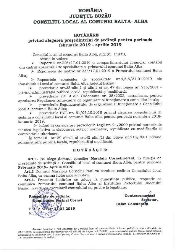 Hotarare 2privind alegerea presedintelui de sedinta pe perioada februarie 2019 aprilie 2019 001