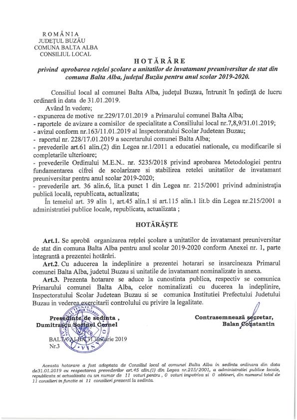 Hotarare 3 privind aprobarea retelei scolare a unitatilor de invatamant de stat din com Balta Alba jud Buzau pentru anul 2019 2020 001