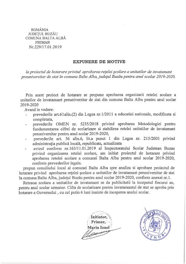 Hotarare 3 privind aprobarea retelei scolare a unitatilor de invatamant de stat din com Balta Alba jud Buzau pentru anul 2019 2020 005