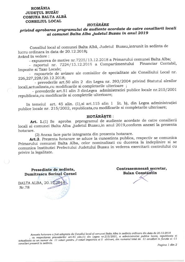 Hotarare Nr 78 din 20 12 2018 privind aprobarea programului de audiente acordate de catre consilierii locali ai Comunei Balta Alba pe ANUL 2019 001
