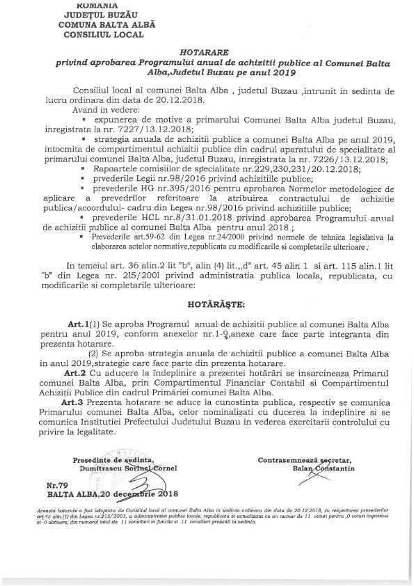 Hotarare Nr 79 din 20 12 2018 privind aprobarea Programului anual de achizitii publice al Comunei Balta Albape anul 2019 001