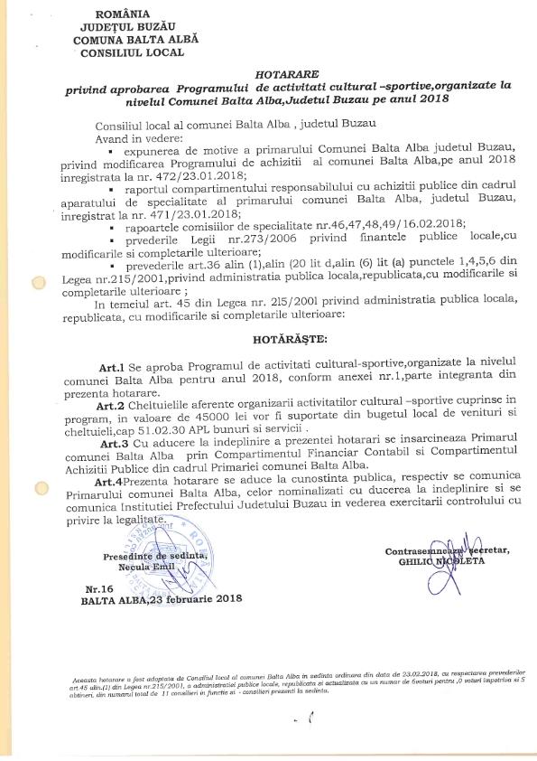 Hotararea nr 16 privind programul de activitati cultural sportive 001