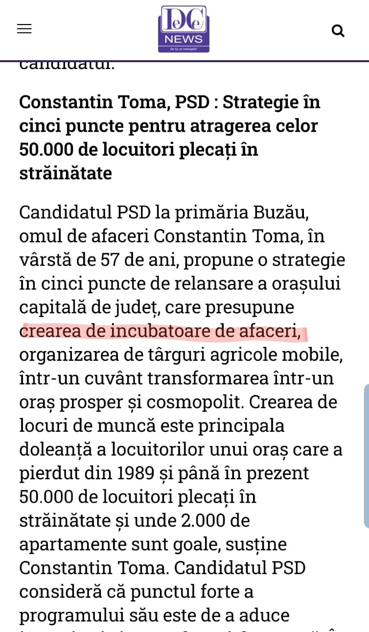 Sursa DC News programul de candidatura al primarului PSD Constantin Toma mai 2016